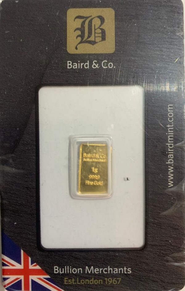 1 Gram Gold Minted Bar 999.9 from Baird and Co London Sealed
