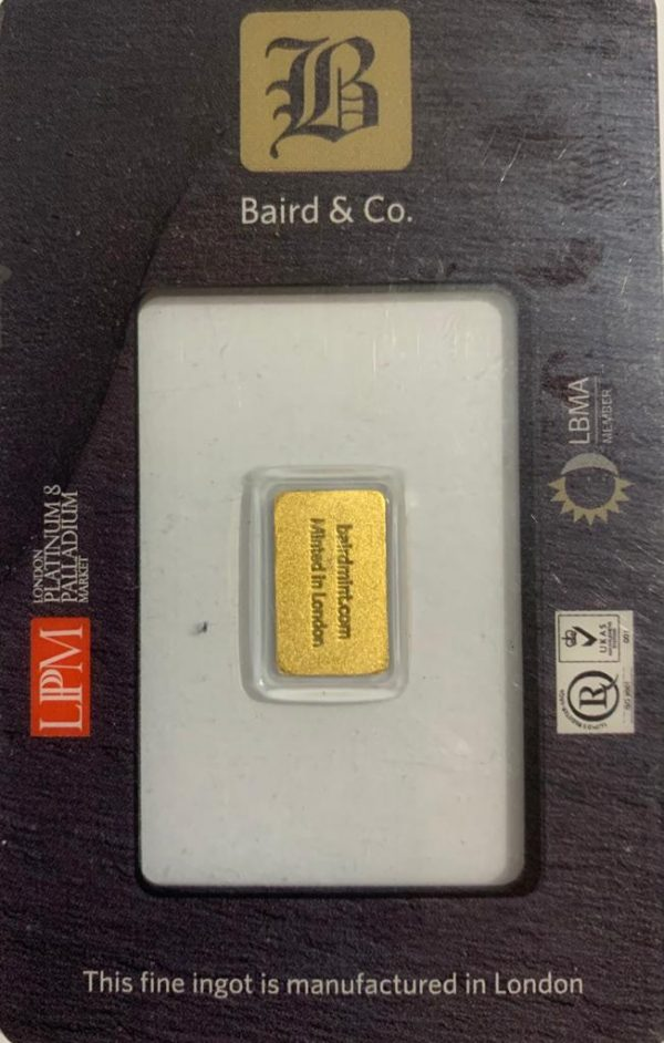 1 Gram Gold Minted Bar 999.9 from Baird and Co London Sealed back